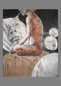 Menschen, Kohlezeichnung, Tusche, Malerei