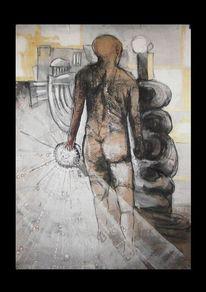 Tusche, Menschen, Kohlezeichnung, Malerei