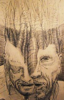 Skizze, Menschen, Collage, Portrait