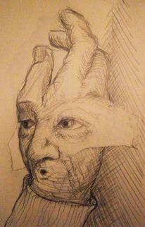 Bleistiftzeichnung, Collage, Zerreißen, Menschen
