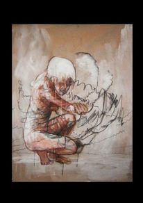 Kohlezeichnung, Tusche, Menschen, Malerei