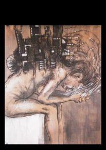 Kohlezeichnung, Menschen, Tod, Tusche