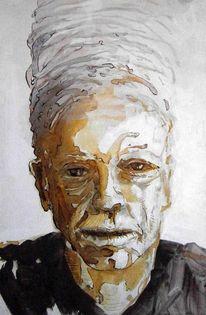 Menschen, Portrait, Tusche, Malerei