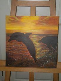 Gemälde sonnenuntergang, Delfin, Malerei