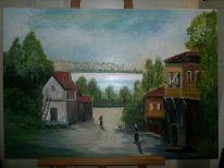 Gemälde, Malerei, Dorf