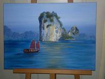 Gemälde, Insel felsen boot, Malerei, Insel