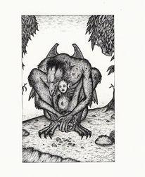Dämon, Brut, Tuschmalerei, Fantasie