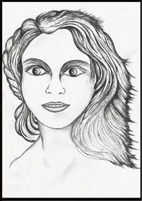 Bleistiftzeichnung, Gesicht, Frau, Skizze