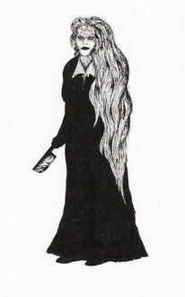 Schwarzweiß, Dämon, Frau in schwarz, Rapidograph
