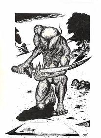Fantasie, Rapitograph, Dämon, Zeichnung