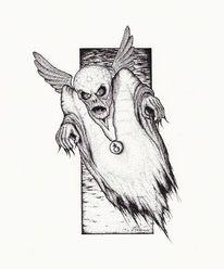 Fantasie, Dämon, Schwarz, Rapidograph