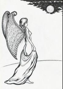 Zeichnung, Engel, Gefallen, Gratia