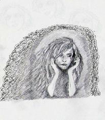 Skizze, Bleistiftzeichnung, Dunkel, Warten