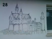 Burg, Fassade, Wandmalerei, Hauswand