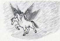 Tusche, Pegasus, Bleistiftzeichnung, Trigasus
