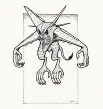 Rapidograph, Dämon, Flugzeug, Schwarz