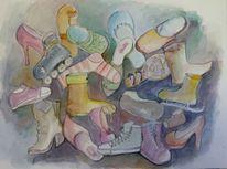 Aquarellmalerei, Schuhe, Sammlung, Durcheinander
