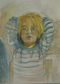 Kind, Aquarellmalerei, Streifen, Portrait