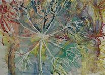 Lasurtechnik, Blumen, Farben, Pusteblumen
