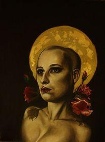 Glatze, Realismus, Mond, Ölmalerei