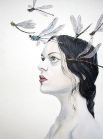 Gesicht, Libelle, Illustration, Portrait