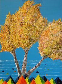 Meer, Pyramide, Herbstfärbung, Birken