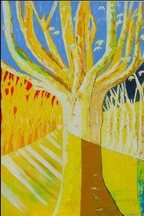 Leinen, Aix, Platanenallee, Ölmalerei