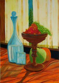 Weintrauben, Apfel, Tischdecke, Stillleben
