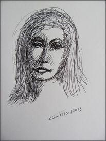 Frauenportrait, Langhaarig, Junge frau, Zeichnungen