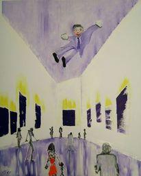 Schirn, Ausstellungsbesucher, Schwebender künstler, Blau