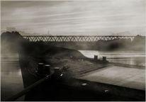 Brücke, Grau, Schwarz, Neblig