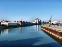 Fluss, Hafen, Donau, Himmel