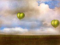 Feld, Wolken, Gras, Weg
