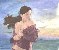 Frau, Brust, Aquarellmalerei, Meer