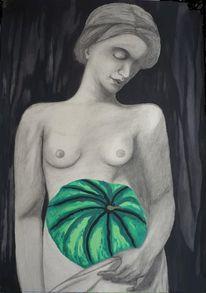 Melone, Akt, Dunkel, Frau
