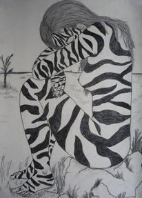 Sitzen, Frau, Akt, Zebra