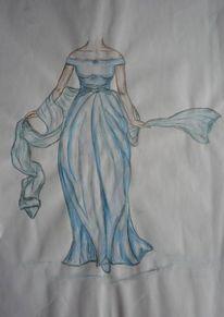 Zeichnung, Brautkleid, Blau, Kleid