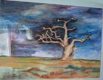 Feld, Dunkel, Baum, Regenbogen