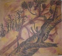 Arrangement, Baum, Pastellmalerei, Kohlezeichnung