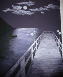 Himmel, Seebrücke, Boot, Stillleben
