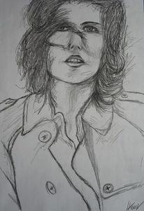 Mantel, Wind, Portrait, Bleistiftzeichnung