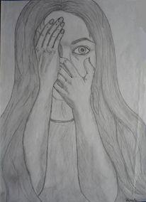 Augen, Bleistiftzeichnung, Angst, Gesicht