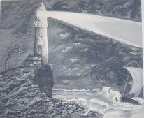 Leuchtturm, Wind, Stillleben, Möwe