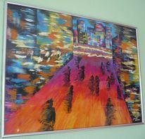 Menschen, Haus, Acrylmalerei, Farben