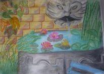 Blumen, Stillleben, Pastellmalerei, Brunnen