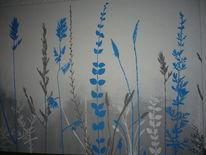 Türkis, Blumen, Grau, Acrylmalerei