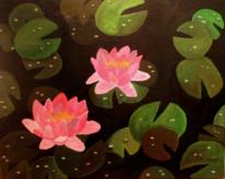 Acrylmalerei, Seerosen, Malerei