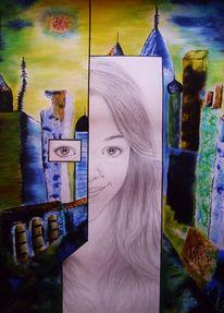 Gelb, Blau, Augen, Landschaft