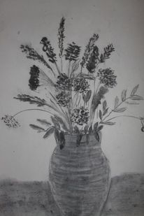 Zeichnung, Blumen, Kohlezeichnung, Vase