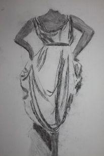 Kohlezeichnung, Frau, Zeichnung, Zeichnungen
